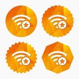 Wifi star sign. Favorite Wi-fi symbol. Wireless. Royalty Free Stock Photography