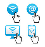 Wifi sumbol  with cursor hand icons. Blue wifi internet icons with piexelated cursor hand isolated on white Royalty Free Stock Image