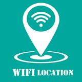 Wifi symbol - abstrakt logotypsymbol - vit symbol i översiktsstift Royaltyfria Foton
