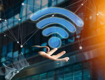 Wifi symbol displayed on a futuristic interface - Connection and Royalty Free Stock Photos