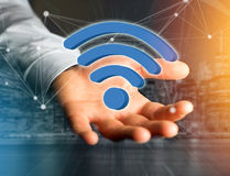 Wifi symbol displayed on a futuristic interface - Connection and Royalty Free Stock Photography