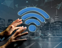 Wifi symbol displayed on a futuristic interface - Connection and Royalty Free Stock Photo