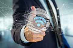 Wifi symbol displayed in a sliced sphere - 3d rendering Stock Photo