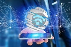 Wifi symbol displayed in a sliced sphere - 3d rendering Royalty Free Stock Photography