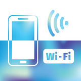 Wifi symbol - free wifi - internet zone Royalty Free Stock Photos