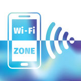 Wifi symbol - free wifi - internet zone Stock Photos