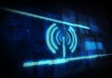 Wifi symbol på blå digital bakgrund Arkivbilder