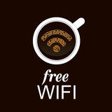 WiFi symbol på ett kaffe Arkivbilder