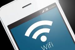 Wifi symbol på smartphonen Arkivfoto