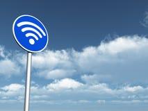 Wifi symbol on roadsign Stock Image