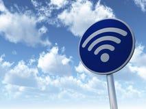 Wifi symbol on roadsign Stock Photos
