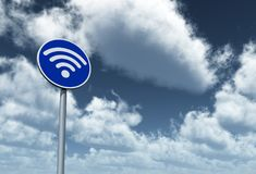 Wifi symbol on roadsign Royalty Free Stock Photography