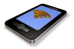 Wifi symbol on smartphone display Royalty Free Stock Photos