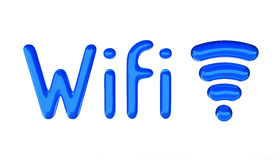 Wifi symbol with text. Glossy 3D material. Wifi symbol. 3D render isolated on the white Royalty Free Stock Images