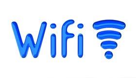 Wifi symbol z tekstem Glansowany 3D materiał ilustracji