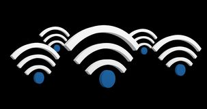 Wifi symbols 4k. Digital animation of WiFi symbols in a black background 4k stock illustration