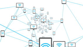 Wifi symbols on media device screens stock video footage