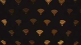 WIFI-symbool abstracte achtergrond Pictogramverbinding aan wifi, draadloos netwerkpictogram stock videobeelden