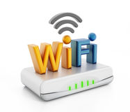 Wifi text on modem Royalty Free Stock Image