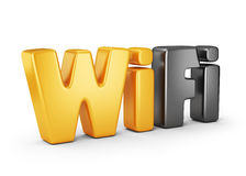 Wifi text symbol. 3D Icon  Royalty Free Stock Photography