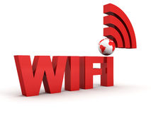 WiFi Thechnology Concept with Red Earth Globe Royalty Free Stock Photos