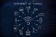 Wifi und intelligente verbundene Gegenstände, Internet von Sachen Stockfotos