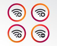 Wifi Wireless Network icons. Wi-fi add, remove. Wifi Wireless Network icons. Wi-fi zone add or remove symbols. Favorite star sign. Password protected Wi-fi Royalty Free Stock Images