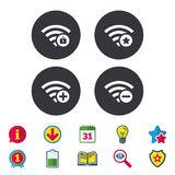 Wifi Wireless Network icons. Wi-fi add, remove. Wifi Wireless Network icons. Wi-fi zone add or remove symbols. Favorite star sign. Password protected Wi-fi Stock Photography