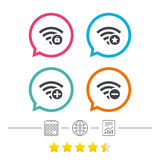 Wifi Wireless Network icons. Wi-fi add, remove. Wifi Wireless Network icons. Wi-fi zone add or remove symbols. Favorite star sign. Password protected Wi-fi Stock Image