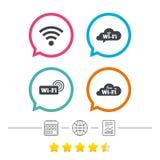Wifi Wireless Network icons. Wi-fi speech bubble. Stock Photos