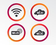 Wifi Wireless Network icons. Wi-fi speech bubble. Free Wifi Wireless Network cloud speech bubble icons. Wi-fi zone sign symbols. Infographic design buttons Royalty Free Stock Images