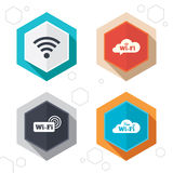 Wifi Wireless Network icons. Wi-fi speech bubble Royalty Free Stock Photos