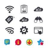 Wifi Wireless Network icons. Wi-fi zone locked. Free Wifi Wireless Network cloud speech bubble icons. Wi-fi zone locked symbols. Password protected Wi-fi sign Stock Images