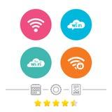 Wifi Wireless Network icons. Wi-fi zone locked. Free Wifi Wireless Network cloud speech bubble icons. Wi-fi zone locked symbols. Password protected Wi-fi sign Royalty Free Stock Image