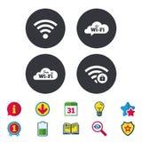 Wifi Wireless Network icons. Wi-fi zone locked. Free Wifi Wireless Network cloud speech bubble icons. Wi-fi zone locked symbols. Password protected Wi-fi sign Royalty Free Stock Photo