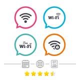 Wifi Wireless Network icons. Wi-fi zone locked. Stock Photos
