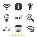 Wifi Wireless Network icons. Wi-fi zone locked. Stock Image