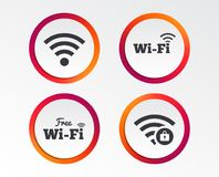 Wifi Wireless Network icons. Wi-fi zone locked. Free Wifi Wireless Network icons. Wi-fi zone locked symbols. Password protected Wi-fi sign. Infographic design Stock Photography