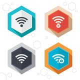Wifi Wireless Network icons. Wi-fi zone locked Stock Photography