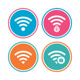 Wifi Wireless Network icons. Wi-fi zone locked. Royalty Free Stock Photo