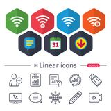 Wifi Wireless Network icons. Wi-fi zone locked. Wifi Wireless Network icons. Wi-fi zone locked symbols. Password protected Wi-fi sign. Chat, Report graph line Royalty Free Stock Photo
