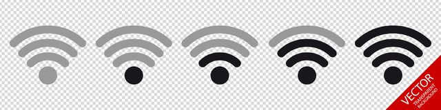 Wifi Wireless Wlan Internet Signal Flat Icons For Apps Or Websites - Isolated On Transparent Background Royalty Free Stock Image