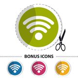Wifi Wireless Wlan Internet Signal - Flat Sticker Icon With Scissor And Cut Line - Vector Illustration For Apps And Websites. Isolated On White Background Royalty Free Stock Photography