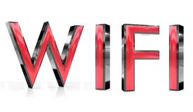 Wifi 3d word. The wifi word 3d rendered red and gray metallic color , isolated on white background Royalty Free Stock Photography