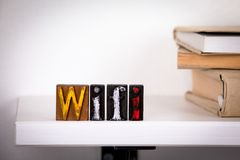 Wifi word Wooden letters on the office desk stock photography