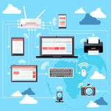 Wifi workstation with globe and router concept Stock Photo