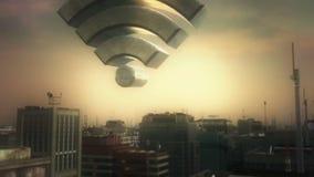 Wifi y ciudad aérea libre illustration
