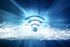 Wifi znak na abstrakta zamazanym tle ilustracja wektor