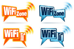 WiFi Zone Icons. Speech bubbles with signal for WiFi Connection Stock Photo