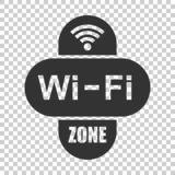 Wifi zone internet sign icon in flat style. Wi-fi wireless technology vector illustration on isolated background. Network wifi. Zone business concept vector illustration